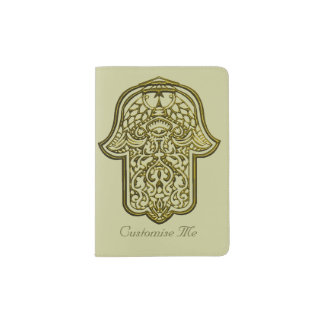 Henna Hand of Hamsa (Golden) Passport Holder
