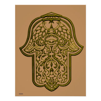 Henna Hand of Hamsa (Golden) Poster