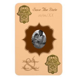 Henna Hand of Hamsa (Golden) (Save The Date) Rectangular Photo Magnet