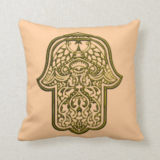 Henna Hand of Hamsa (Golden) Throw Pillow