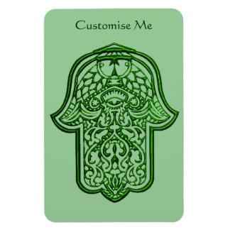 Henna Hand of Hamsa (Green) Rectangle Magnets