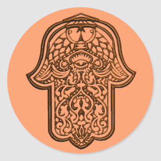 Henna Hand of Hamsa (Orange) Classic Round Sticker