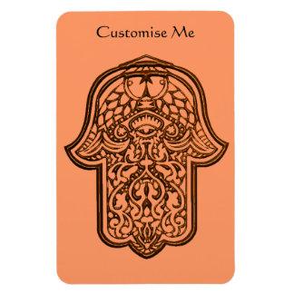 Henna Hand of Hamsa (Orange) Rectangular Photo Magnet