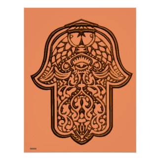 Henna Hand of Hamsa (Orange) Poster