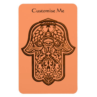 Henna Hand of Hamsa Orange Vinyl Magnet