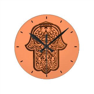 Henna Hand of Hamsa (Orange) Round Clock