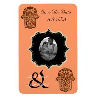 Henna Hand of Hamsa (Orange) (Save The Date) Rectangular Photo Magnet