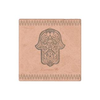 Henna Hand of Hamsa (Orange) Stone Magnet