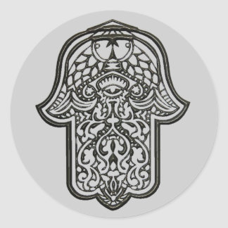 Henna Hand of Hamsa (Original) Classic Round Sticker