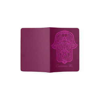 Henna Hand of Hamsa (Pink) Passport Holder