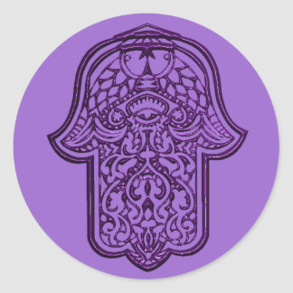 Henna Hand of Hamsa (Purple) Classic Round Sticker