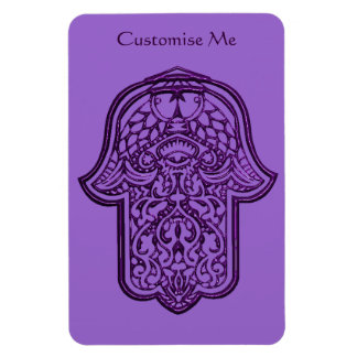 Henna Hand of Hamsa (Purple) Rectangle Magnet