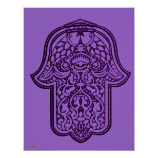 Henna Hand of Hamsa (Purple) Poster
