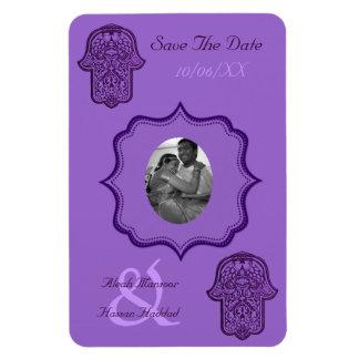 Henna Hand of Hamsa (Purple) (Save The Date) Rectangular Photo Magnet