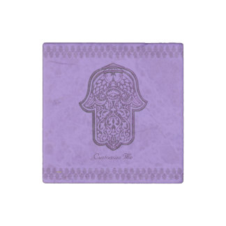 Henna Hand of Hamsa (Purple) Stone Magnet