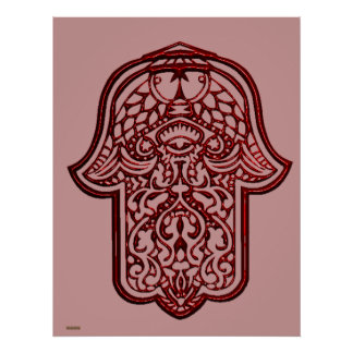 Henna Hand of Hamsa (Red) Poster