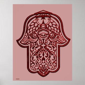 Henna Hand of Hamsa (Red) Poster