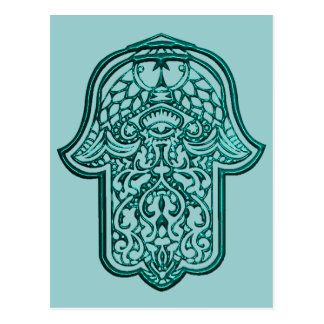 Henna Hand of Hamsa (Teal) Postcard