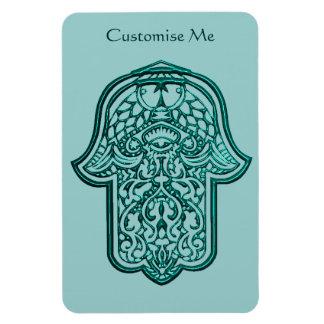 Henna Hand of Hamsa (Teal) Rectangle Magnets