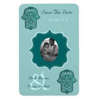 Henna Hand of Hamsa (Teal) (Save The Date) Rectangular Photo Magnet