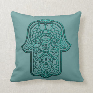 Henna Hand of Hamsa (Teal) Throw Pillow