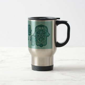 Henna Hand of Hamsa (Teal) Travel Mug