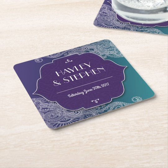 Henna Jewel Coasters Purple & Teal Wedding Party