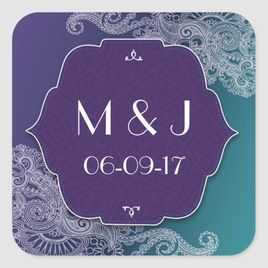 Henna Jewel Stickers Purple Teal Square Favours