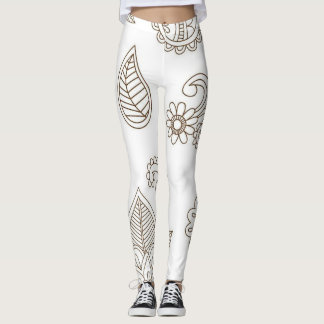 Henna Leggings Brown and White