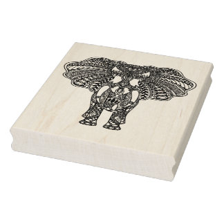 Henna Mehndi Decorated Indian Elephant Rubber Stamp