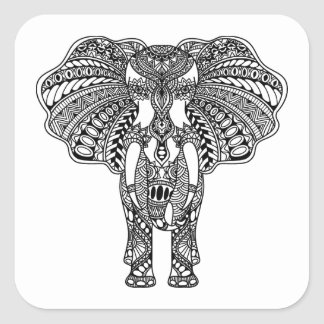 Henna Mehndi Decorated Indian Elephant Square Sticker