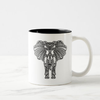 Henna Mehndi Decorated Indian Elephant Two-Tone Coffee Mug