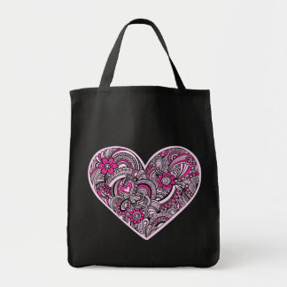 Henna Mehndi Heart Doodle Grocery Tote Canvas Bag