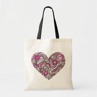 Henna Mehndi Heart Doodle Tote Budget Tote Bag