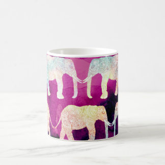 Henna paisley elephants pattern purple watercolor coffee mug