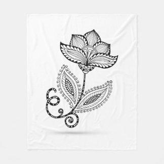 Henna Paisley Mehndi Doodles Fleece Blanket