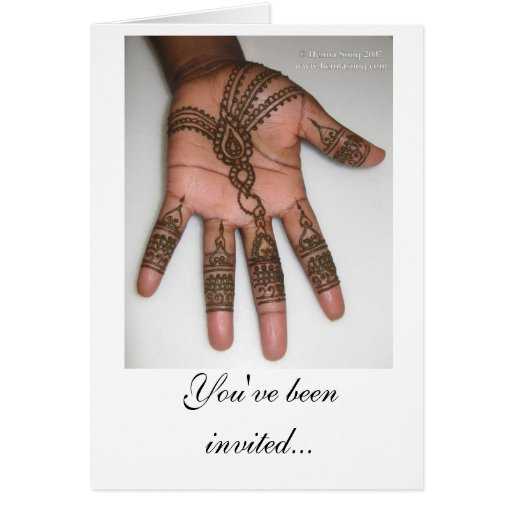 Mehndi Party Evite : Henna party invitation greeting card zazzle