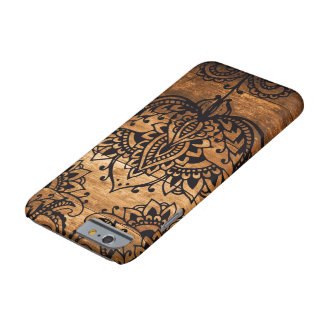 Henna Pattern on Wood Background Barely There iPhone 6 Case