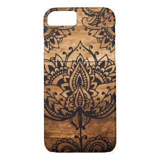 Henna Pattern on Wood Background iPhone 7 Case