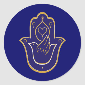 Henna Peace & Love Hamsa Blue Classic Round Sticker