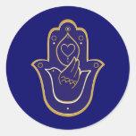 Henna Peace & Love Hamsa Blue Sticker