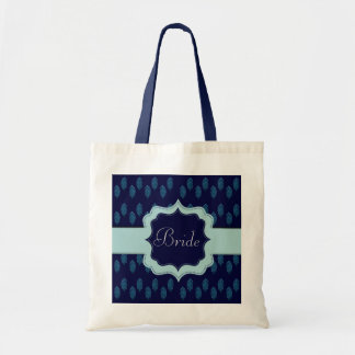 Henna Peacock (Blue) (Wedding) Budget Tote Bag