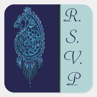 Henna Peacock (Blue) (Wedding) Sticker