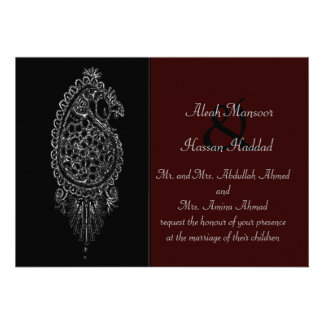 Henna Peacock Personalized Invites