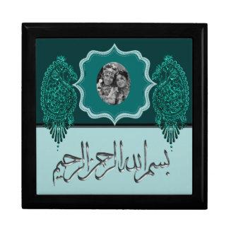 Henna Peacock (Turquoise) (Wedding) Large Square Gift Box