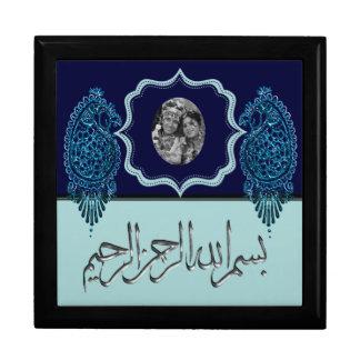 Henna Peacock (Wedding) (Light Blue) Large Square Gift Box