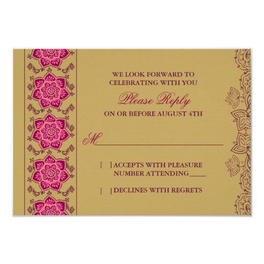 Henna Raisin Pink Gold Indian Wedding RSVP Reply