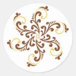 Henna Spiral Flower Round Sticker