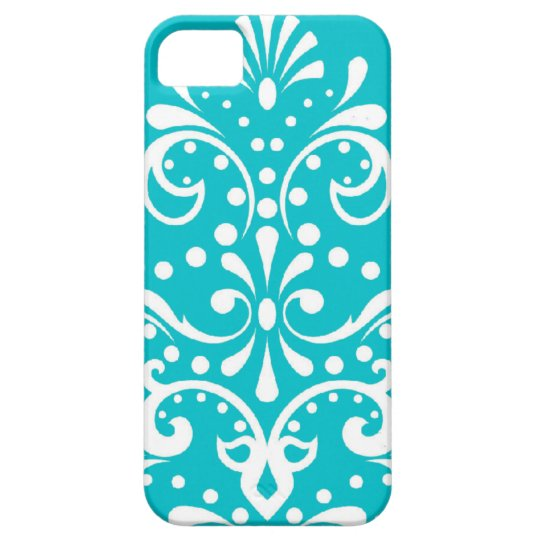 henna style damask turquoise blue and white case for the iPhone 5