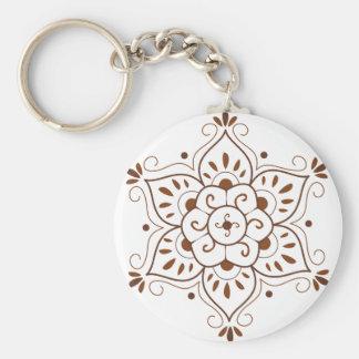 Henna Tattoo Mandala Basic Round Button Key Ring